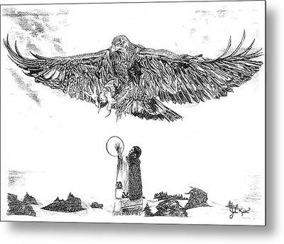 Eagle Visit Metal Print by John Keaton