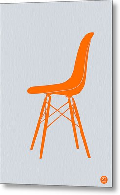 Eames Fiberglass Chair Orange Metal Print by Naxart Studio