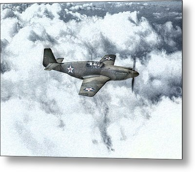 Early P-51 Mustang Fighter  Metal Print by Randy Steele