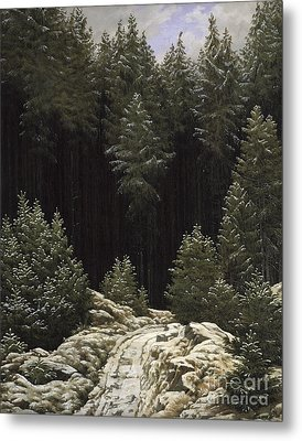 Early Snow Metal Print by Caspar David Friedrich