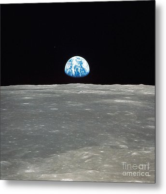 Earth And The Moon Metal Print by Stocktrek Images