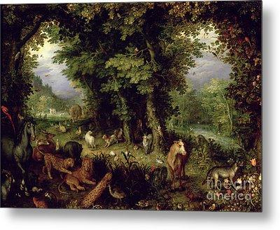 Earth Or The Earthly Paradise Metal Print by Jan the Elder Brueghel