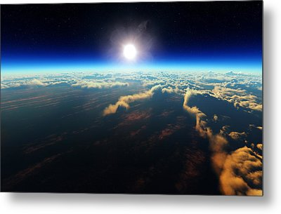 Earth Sunrise From Outer Space Metal Print by Johan Swanepoel