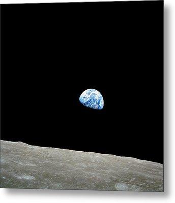 Earthrise Over Moon, Apollo 8 Metal Print by Nasa