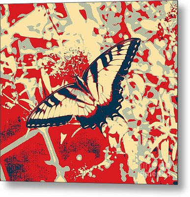 Eastern Tiger Swallowtail Butterfly - Red Abstract Metal Print by Scott D Van Osdol