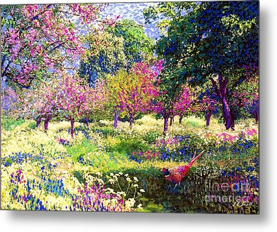 Echoes From Heaven, Spring Orchard Blossom And Pheasant Metal Print by Jane Small