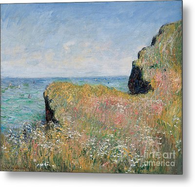 Edge Of The Cliff Pourville Metal Print by Claude Monet