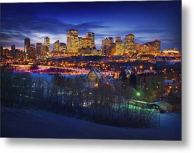 Edmonton Winter Skyline Metal Print by Corey Hochachka