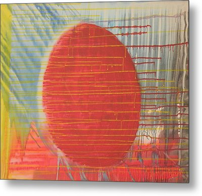 Egg Shaped Red Orb Metal Print by James Howard