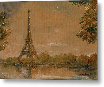 Eiffel Tower Paris Watercolor Metal Print by Juan  Bosco