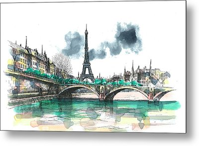Eiffel Tower Metal Print by Seventh Son