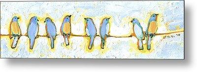 Eight Little Bluebirds Metal Print by Jennifer Lommers