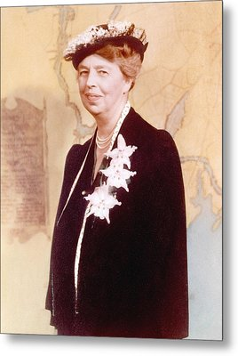 Eleanor Roosevelt. Hand Colored Metal Print by Everett