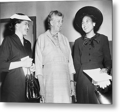 Eleanor Roosevelt, With Two African Metal Print by Everett