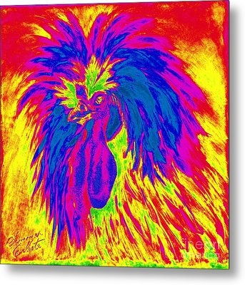Electric Polish Hen Metal Print by Summer Celeste