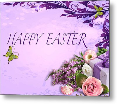 Elegant Easter Card Metal Print by Debra     Vatalaro