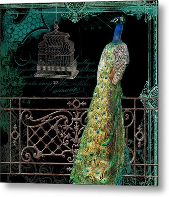 Elegant Peacock Iron Fence W Vintage Scrolls 4 Metal Print by Audrey Jeanne Roberts