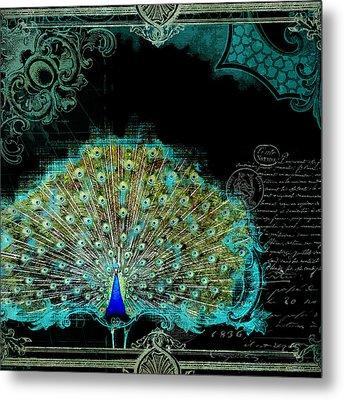 Elegant Peacock W Vintage Scrolls 3 Metal Print by Audrey Jeanne Roberts