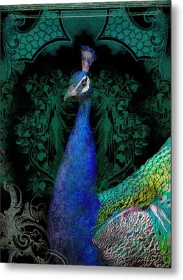 Elegant Peacock W Vintage Scrolls  Metal Print by Audrey Jeanne Roberts
