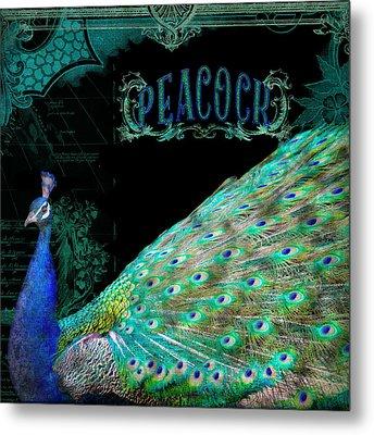 Elegant Peacock W Vintage Scrolls Typography 4 Metal Print by Audrey Jeanne Roberts