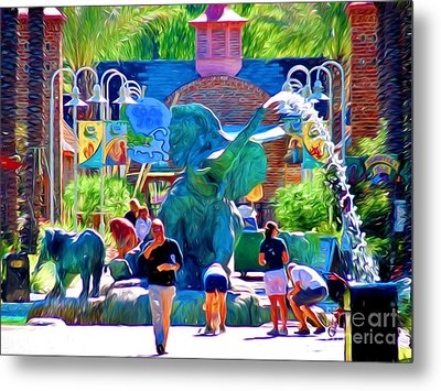 Elephant Fountain At Audubon Zoo New Orleans Metal Print by D S Images