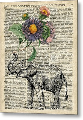 Elephant With Flowers Metal Print by Jacob Kuch