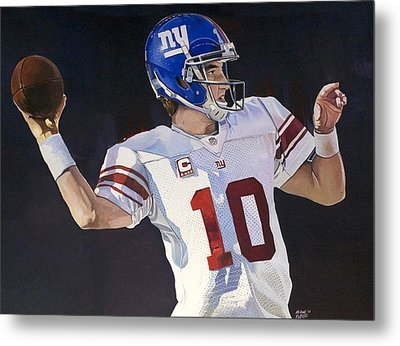Eli Manning New York Giants Metal Print by Michael  Pattison