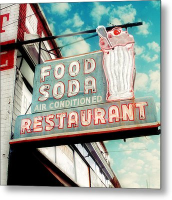 Elliston Place Soda Shoppe - Square Crop Metal Print by Amy Tyler