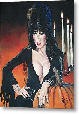 Elvira Mistress Of The Dark Metal Print by Tom Carlton