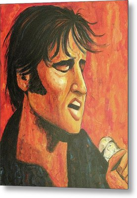 Elvis In Black And Red Metal Print by Suzanne  Marie Leclair