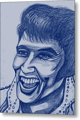 Elvis In Blue Metal Print by Richard Heyman