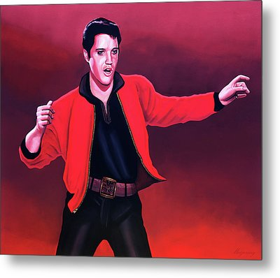 Elvis Presley 4 Painting Metal Print by Paul Meijering