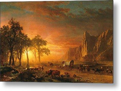 Emigrants Crossing The Plains - 1867 Metal Print by Albert Bierstadt