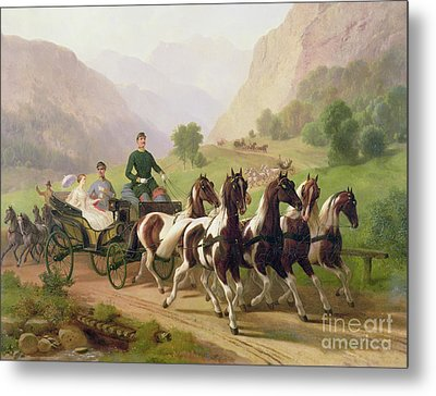 Emperor Franz Joseph I Of Austria Being Driven In His Carriage With His Wife Elizabeth Of Bavaria I Metal Print by Austrian School