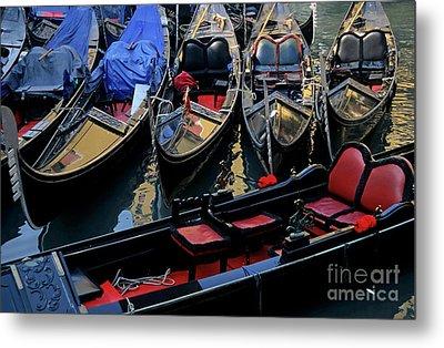 Empty Gondolas Floating On Narrow Canal In Venice Metal Print by Sami Sarkis