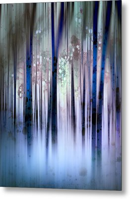 Enchanted Forest In Blue Metal Print by Ann Powell