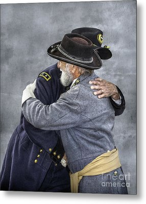 Enemies No Longer Civil War Grant And Lee Metal Print by Randy Steele