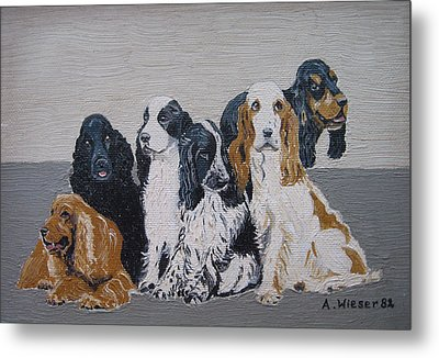 English Cocker Spaniel Family Metal Print by Antje Wieser