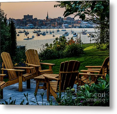 Enjoying The Portland View Metal Print by Joe Faragalli