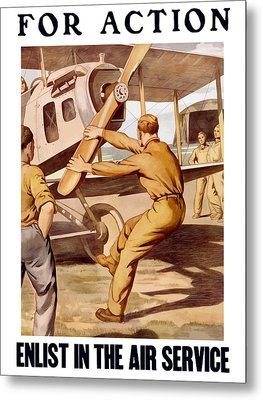 Enlist In The Air Service Metal Print by War Is Hell Store