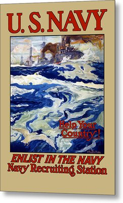 Enlist In The Navy - For Liberty's Sake Metal Print by War Is Hell Store