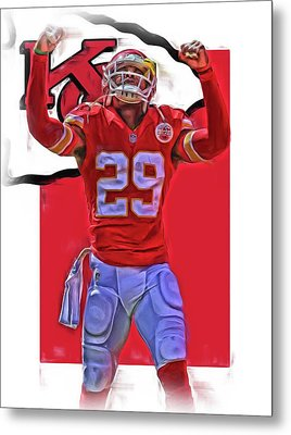 Eric Berry Kansas City Chiefs Oil Art Metal Print by Joe Hamilton