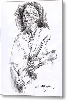 Eric Clapton Blue Metal Print by David Lloyd Glover