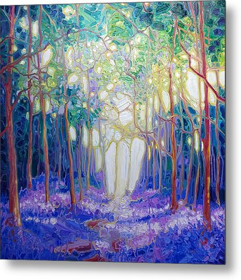 Escape Through The Bluebell Wood Metal Print by Gill Bustamante