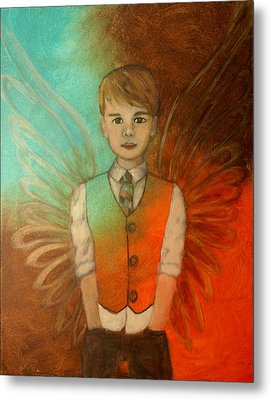 Ethan Little Angel Of Strength And Confidence Metal Print by The Art With A Heart By Charlotte Phillips