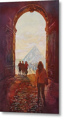 Evening At The Louvre Metal Print by Jenny Armitage