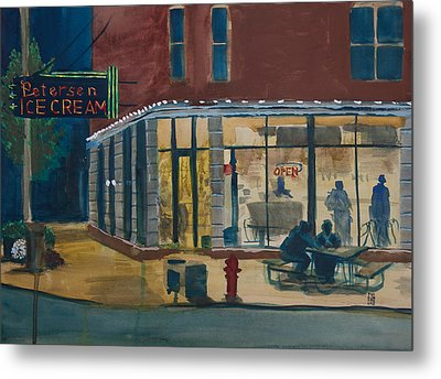Evening Conversations At Petersen's Ice Cream Metal Print by Ted Gordon