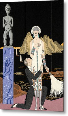 Evening Metal Print by Georges Barbier
