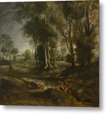 Evening Landscape With Timber Wagon Metal Print by Peter Paul Rubens