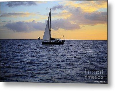 Evening Sail Metal Print by Cheryl Young